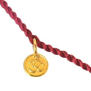 Surat Diamond Gold Plated Om Shaped Sterling Silver Rakhi For Brothers (code - Snsr6)