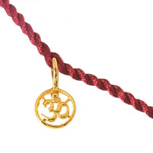Silver Rakhis (India) - Surat Diamond Delicate OM Shaped Gold Plated Sterling Silver Rakhi for Brothers SNSR7