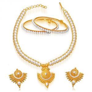 Jewellery - Surat Diamond 24kt Gold Plated Pendant & REAL Pearl Set SP124+BGP19