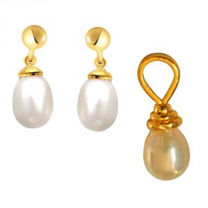 Surat Diamond Real Pearl Drop Shaped Pendant & Earrings (code - Sp370 + Sp371_vd2018)