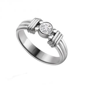 Surat Diamonds Silver Rings - Surat Diamond Diamond Solitaire Ring in 925 Sterling Silver for Engagement/Wedding SSR54