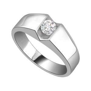 Surat Diamonds Silver Rings - Surat Diamond Diamond Solitaire Ring in 925 Sterling Silver for Engagement/Wedding SSR55