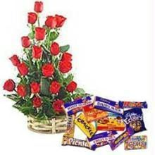 Red Rose Basket With Chocolates - Express Delivery