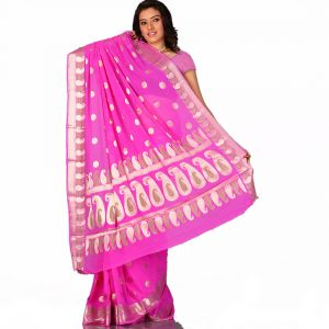 An Uncommon Pink Chiffon Saree With Paisley Designs