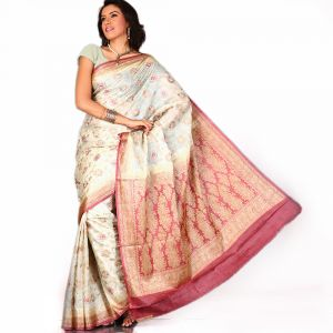 Designer Off White Silk Saree With Zari Weave And Heavy Pallu In Contrast