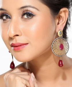 Ruby, Cz And Enamel Hanging Earrings