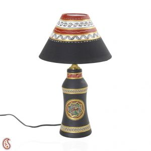 Urn Shaped Terracotta Table Lamp With Painted Shade