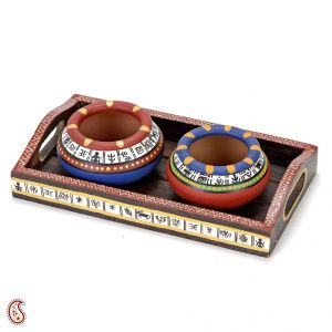 Set Of 2 Hand Painted Terracotta Pots With Tribal Motifs And Tray