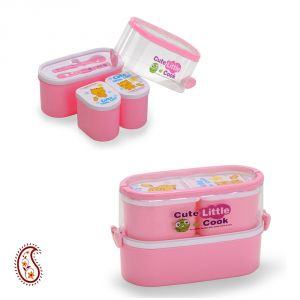 Light Pink Stackable Lunch Box With Locking Clips