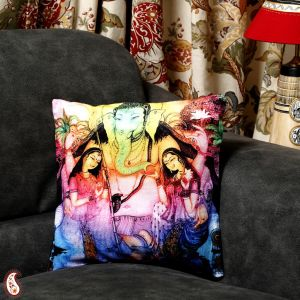 Colourful Velvet Floral Design Ganesh Cushion Cover