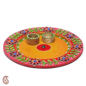 Wood And Clay Handmade Traditional Arthi Thali