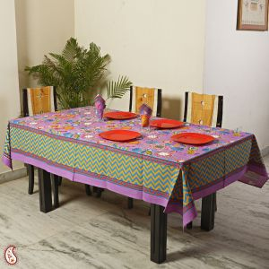 Table covers - Lavender Botanical Pigment Print Cotton Table Cover with 06 Napkins