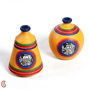 Home Decoratives - Saffron Yellow and Blue Hand painted Terracotta Vase Set