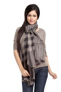 Brown And Black Plaid Viscose Stole With Small Fringe