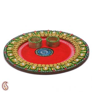 Traditional Arthi Thali Crafted In Wood With Clay And Paint Work