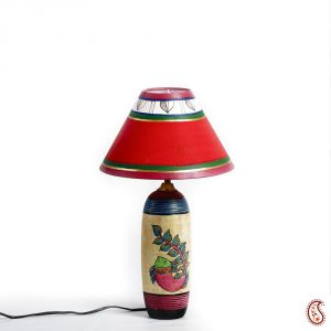 Hand Painted Terracotta Base Table Lamp With Painted Shade In Red