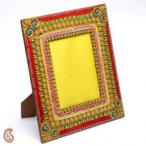 Clay And Wood Photo Frame With Hand Painted Work