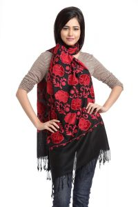 Black And Red Floral Embroidery Viscose Stole
