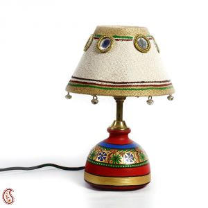 Jute Fabric Shade And Terracotta Table Lamp With Bells And Mirrors