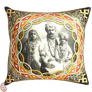 Royal Family Digital Print Poly Velvet Cushion Cover