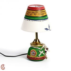 Green Terracotta Base Table Lamp Hand Painted Motifs And Cord Accents