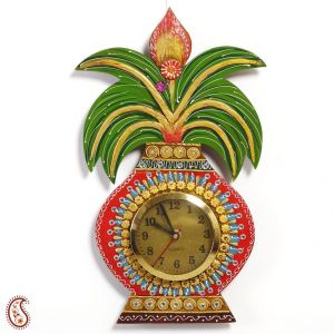Wall Hangings - Kalash Wall Clock in Rajastani clay and wood craft