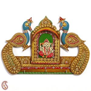 Wall Hangings - Shree Ganesh and Twin Peacock Wall Art