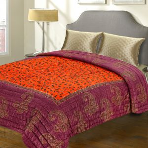 Quilts, Mattresses - Violet And Orange Rajastani Double Bed Razai