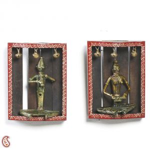 Tribal Wall Decor With Metal Figurines And Painted Motifs