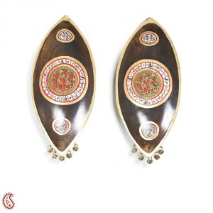 Twin Wood Tribal Art Wall Decor With Painted Motifs
