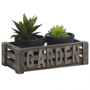 Black & Grey 2 Planter Pots With Garden Stand