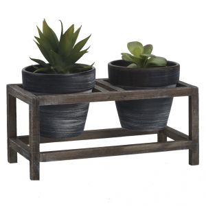 Traditional Look Black & Grey Planter Pots With Stand