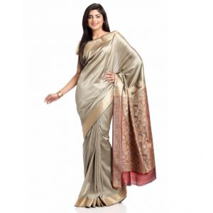 Golden Grey Art Silk Saree With Rich Pallu And Border