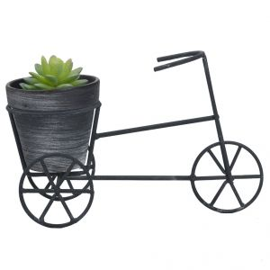 Black & Grey Planter Pot With Cycle Style Stand