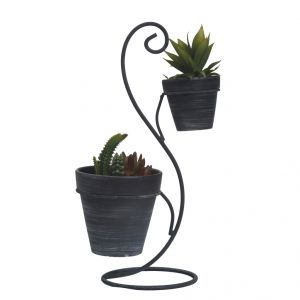 Traditional Style 2 Planter Pots With Stylish Stand