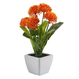 Orange & Green Artificial Floral Plant With Ceramic Pot