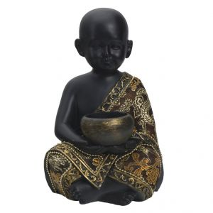 Cute & Charming Golden Black Finish Small Child Statue Showpiece
