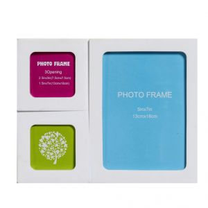 Stylish White 3 Pictures Collage Photo Frame