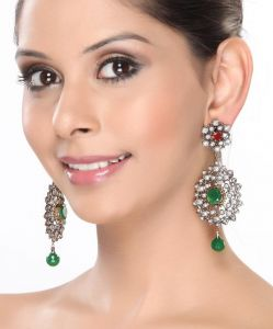 Cz Rubies And Emeralds Cluster Hanging Earrings