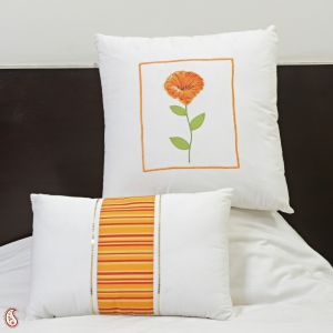 Cotton Decorative Cushion Set With Floral Print Embroidery And Fillers.