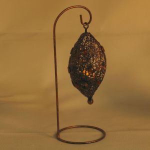 Bird Nest Wrought Iron Tea Light Holder With Colored Glass