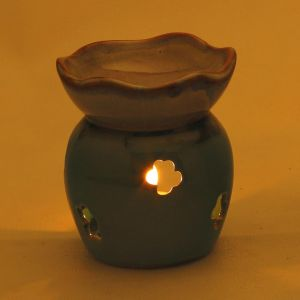 Home Decoratives - English Garden Green Ceramic Tea Light Holder and oil Warmer
