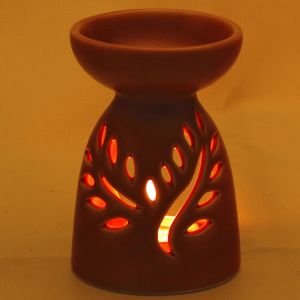 Ruby Red Ceramic Two In One Oil Burner And Tea Light Holder