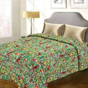 Pure Cotton Floral & Bird Print Green Double Bed Cover With Katha Work