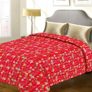 Pure Cotton Tradional Fuschia Floral Print Katha Work Double Bed Cover