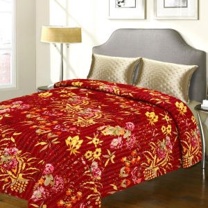 Pure Cotton Double Bed Cover With Floral Motif Design & Katha Work