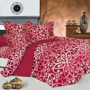 Shaded Red Pure Cotton Floral Print Double Bedsheet With Pillow Covers
