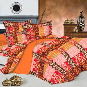 Burnt Orange Mandana Print Double Bedsheet With Pillow Covers