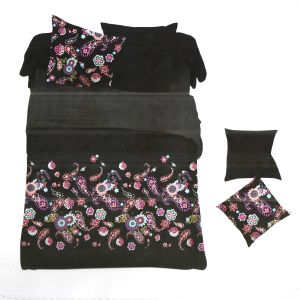 Black Polyester King Size Bedsheet With Floral Print