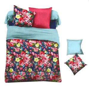Blue & Pink Polyester King Size Bedsheet With Deep Floral Print